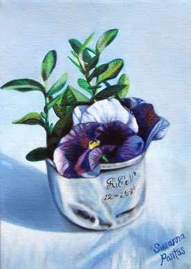 Pansies in Silver Cup Commission by Susanna Pantas