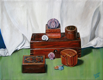 Wooden Boxes with Anemone by Susanna Pantas
